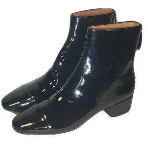 JCrew  Cap-Toe Ankle Boots in Patent Leather 5.5 M